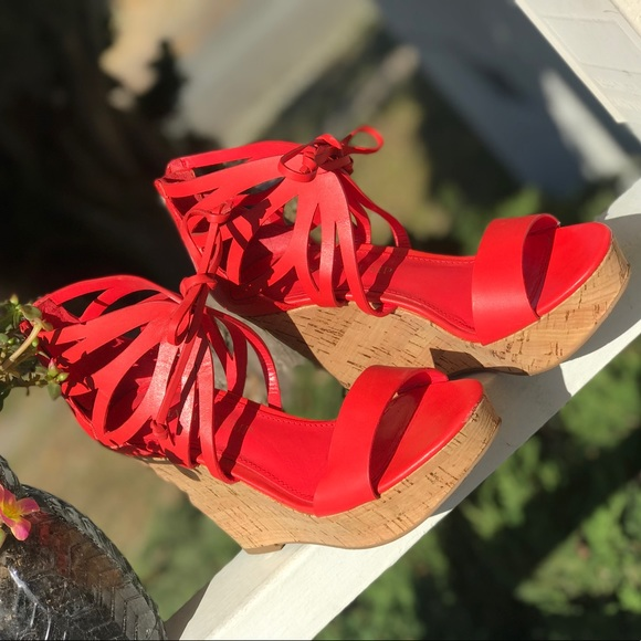 Ivanka Trump Shoes - Ivanka Trump Hopela Platform wedge sandals In Red